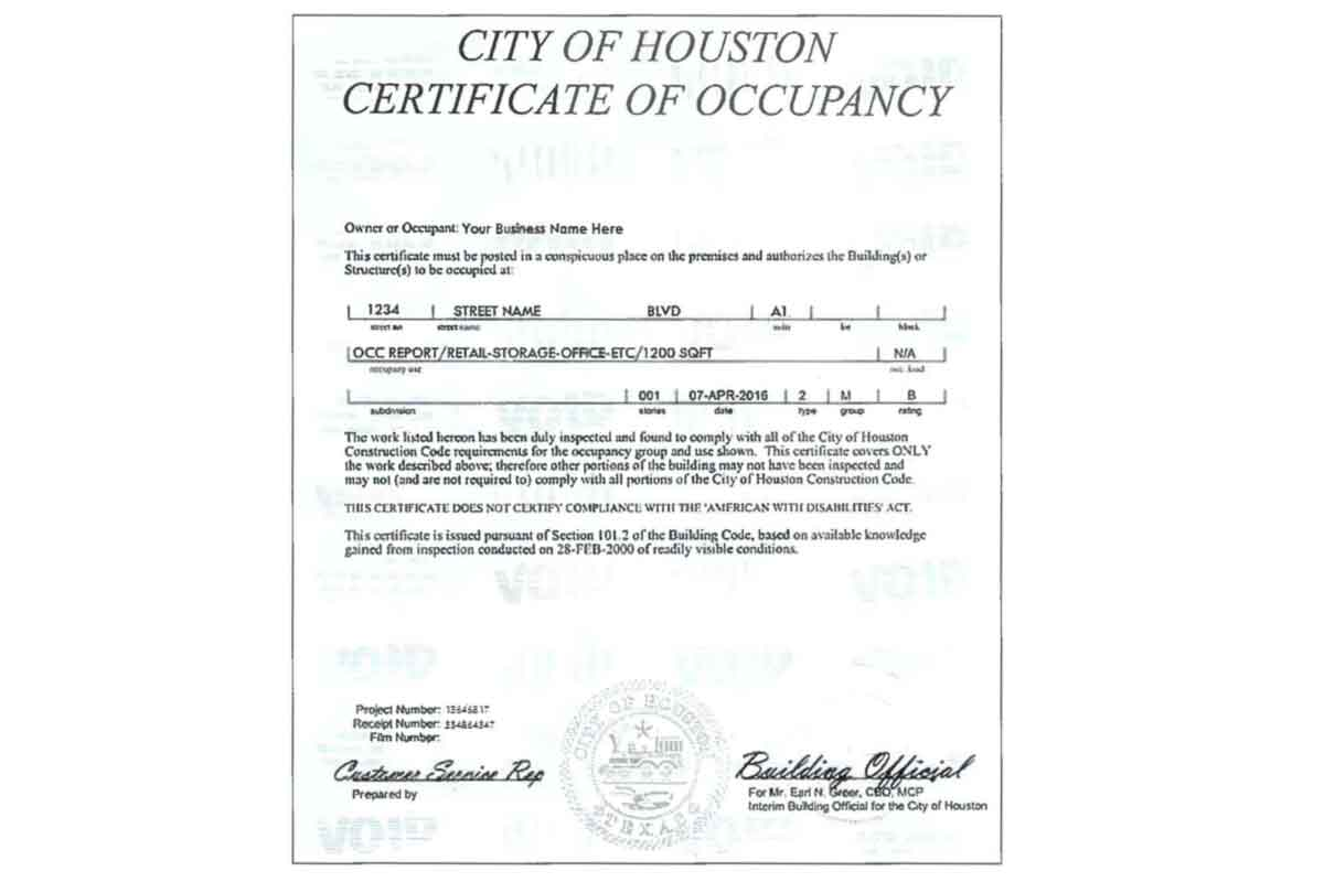 City Of Houston Occupancy Permit Houston Permit Expediting C3