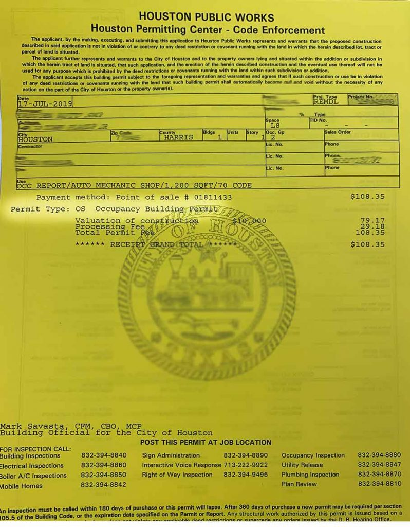 A certificate of Occupancy from the city of Houston