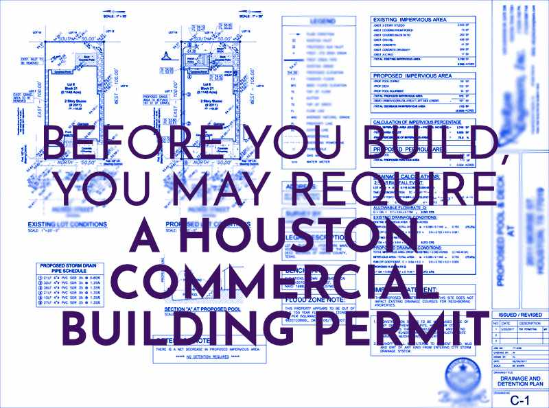 Houston Commercial Building Permit Text over building plans