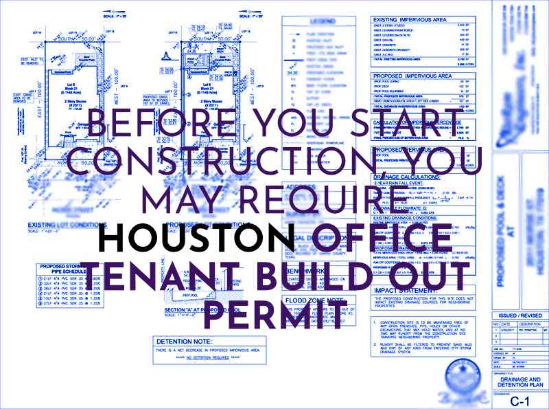 Image of building plans with HOUSTON OFFICE TENANT BUILD OUT PERMIT copy to reinforce the purpose of this page